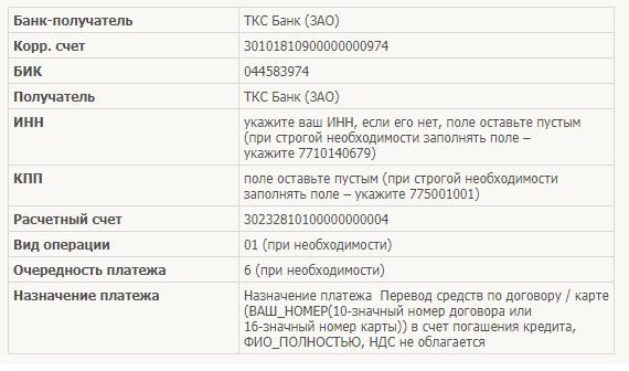 Платежные реквизиты Банка «Тинькофф Кредитные Системы»