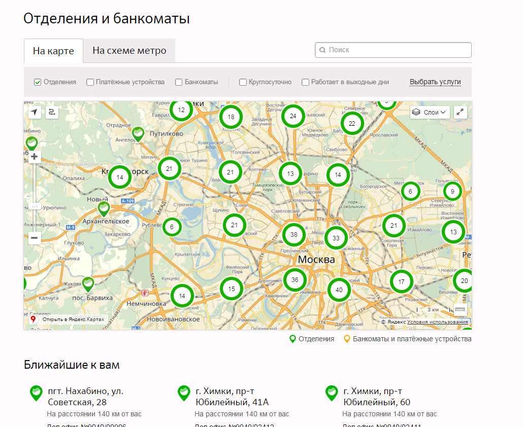 Рис.1 Банкоматы на карте