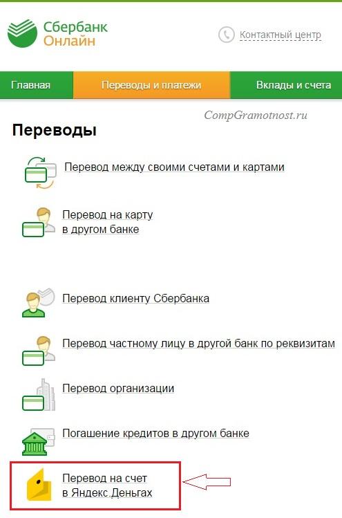 Рис. 11. Сбербанк Онлайн: перевод на счет в Яндекс.Деньгах
