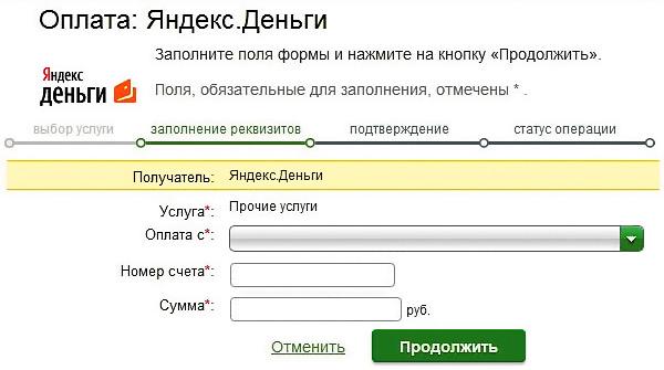 Оплата на Яндекс Кошелек из личного кабинета Сбербанка