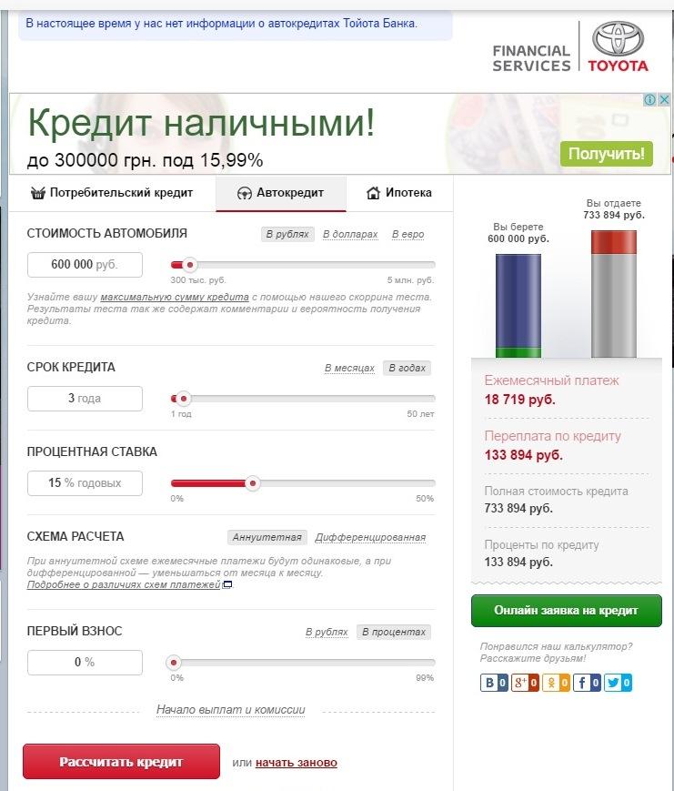 Онлайн калькулятор «Тойота-Банка»