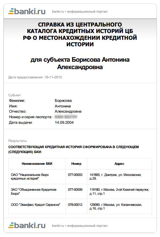 Пример списка бюро от сервиса banki.ru