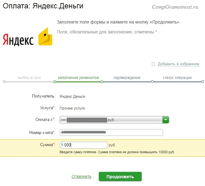 Рис. 12. Пополнение счета Яндекс.Деньги через Сбербанк